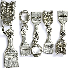 5pcs Charm Brush Silver BD1313