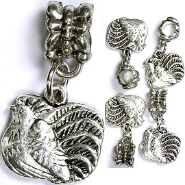 5pcs Charm Chicken Silver BD1326