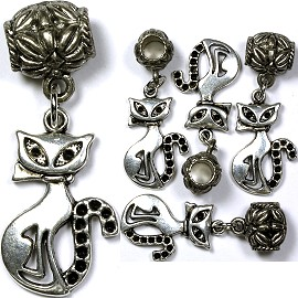 5pc Charm Cat Siamese Silver BD1335