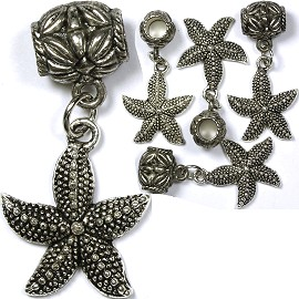 5pc Charms Starfish Silver BD1337