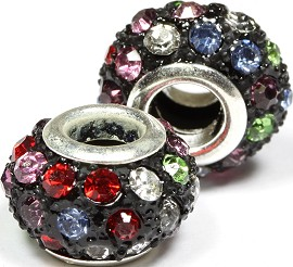 2pcs Beads Crystal Rhinestones Multi Colored BD1341