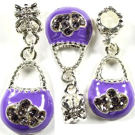 3pcs Charms Purse Rhinestone Lavender Purple BD1374