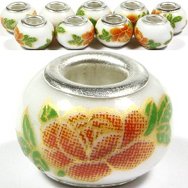 8pcs Ceramic Bead Flower White Orange Green BD1424