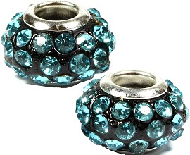 2pcs Beads Black Silver Light Teal Rhinestones BD1432