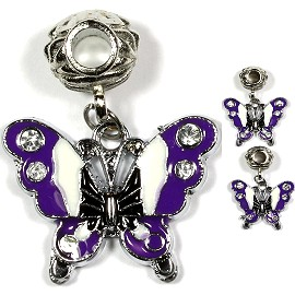 3pcs Charm Butterfly Rhinestone White Purple BD1498