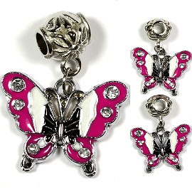 3pcs Charm Butterfly Rhinestone White Hot Pink BD1499