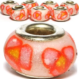 8pc Soft Clay Bead Flower Pink Orange Yellow BD1502