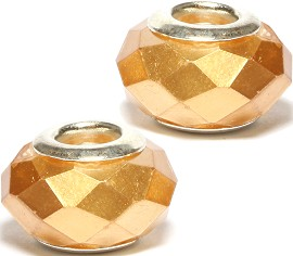 2pc Crystal Cut Bead Solid Gold BD1574