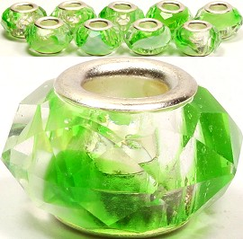 8pcs Crystal Beads Green Clear White BD1629