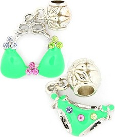 2pcs Charm Rhinestones Swimsuit Green BD1707