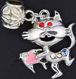 3pc Charm Cat Fish Rhinestone Silver Multi Colored BD1719