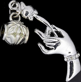 4pc Charm Hand Rose Silver BD1752