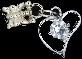 4pc Charm Heart Outline Rhinestone Silver BD1760