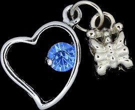 4pc Charm Heart Outline Rhinestone Silver Light Blue BD1764