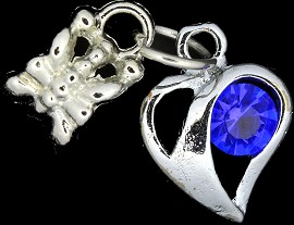 4pc Charm Heart Outline Rhinestone Silver Blue BD1768