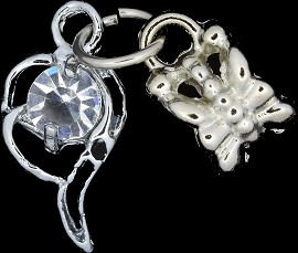 4pc Charm Rhinestone Outline Silver BD1770