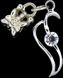 4pc Charm Rhinestone Outline Silver BD1774