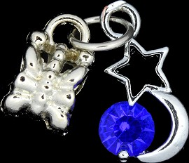 4pc Charm Star & Moon Rhinestone Silver Blue BD1777