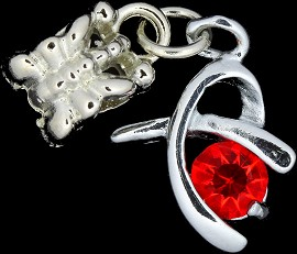 4pc Charm Figure Rhinestone Silver Red BD1780