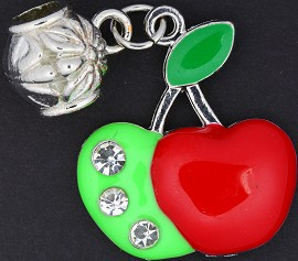 3pc Charm Apple Crystals Red Green BD1785