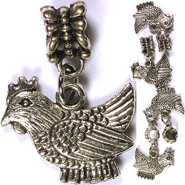5pcs Charm Chicken Silver BD1803