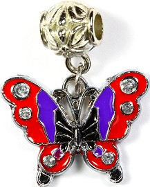 3pcs Charm Butterfly Rhinestone Purple Red BD1806