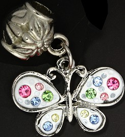 2pc Charm Butterfly Rhinestone White Multi Color BD1832