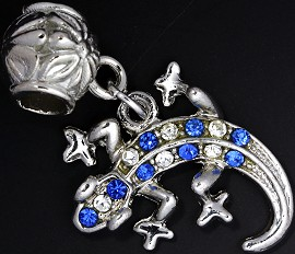 2pc Charm Lizard Rhinestone Silver Clear Blue BD1844