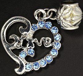 2pc Charm Heart Love Rhinestone Silver Light Blue BD1848