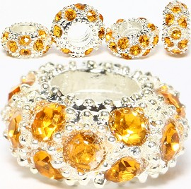 3pcs Charm Round Rhinestone Silver Yellow BD1947 - Click Image to Close