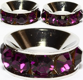 2pcs Charms 15mm Wide Circle Rhinestone Purple Dark BD1954