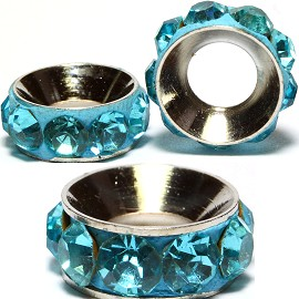 2pcs Charms 11mm Circle Rhinestone Teal BD1962