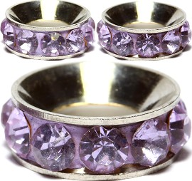 2pcs Charms 11mm Circle Rhinestone Lavender Dark BD1971