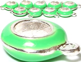 10pcs Charms Round w/ Hole for Chain Lime Green BD1979