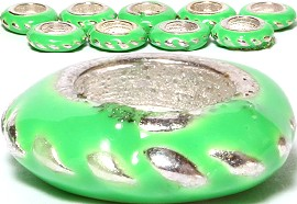 10pcs Charms Round Silver Lime Green BD1985