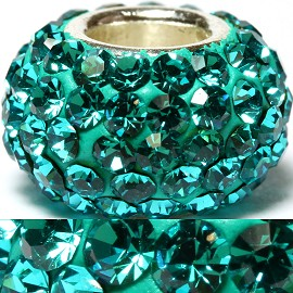 1pc Luxury Rhinestones Bead 11x6mm Teal BD2006