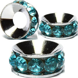 2pcs Charms Rhinestone Round 10mm Wide Turquoise Light BD2021