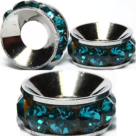 2pcs Charms 10mm Circle Rhinestone Teal BD2022