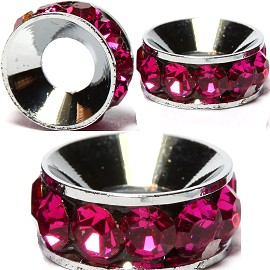 2pcs Charms 10mm Circle Rhinestone Magenta BD2025