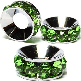 2pcs Charms 10mm Circle Rhinestone Green BD2029