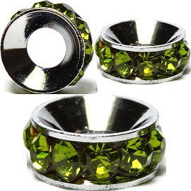 2pcs Charms 10mm Circle Rhinestone Apple Green BD2030