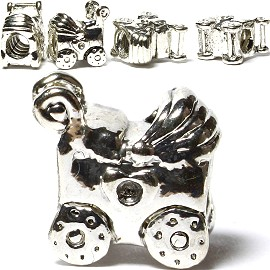 Screw 5pcs Charms Baby Carriage Silver BD2036