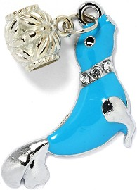 4pc Charm Seal Rhinestone Silver Turquoise BD2083