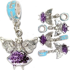 5pc Charm Angel Rhinestone Silver Clear BD2099