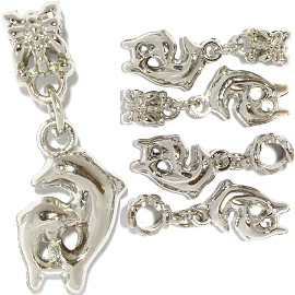 5pc Charm Dolphins Silver BD2142