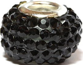 1pc Bead Rhinestone Black 14x9mm BD2175