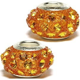 2pcs Beads Rhinestone Orange 14x8mm BD2177