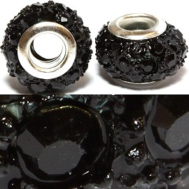 2pcs Beads Rhinestone Black 14x8mm BD2178