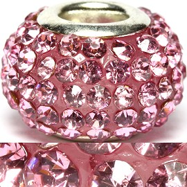 1pc Rhinestones Bead 14x9mm Pink Bd2190