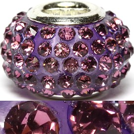 1pc Rhinestones Bead 14x9mm Pink Purple BD2192